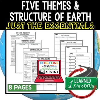 Five Themes of Geography & Earth Outline Notes JUST THE ESSENTIALS Unit Review