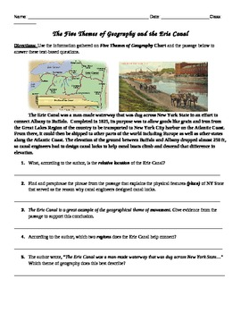 Five Themes of Geography  & Erie Canal Common Core Text-based Answers Activity