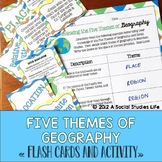 Five Themes of Geography Flash Cards and Activity