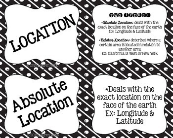 Five Themes of Geography Flash Cards - Black and White
