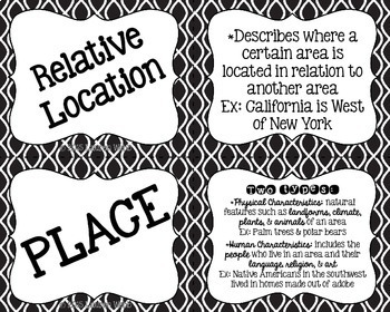 Five Themes of Geography Flash Cards and Activity - Black and White