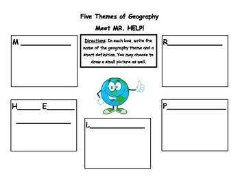 Five Themes of Geography Graphic Organizer