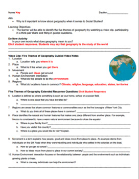 FREE Five Themes of Geography Engaging Worksheet with video and map (editable)