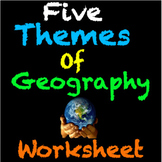 Five Themes of Geography Engaging Worksheet with video and