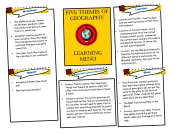 Five Themes of Geography Learning Menu