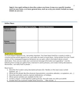 Five Themes of Geography Lesson Plan. Student Worksheet