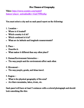 Grade 7 Geography - Five Themes of Geography Brochure