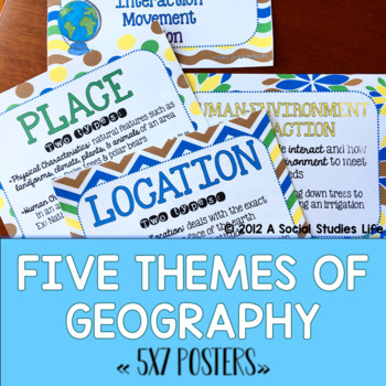 Five Themes of Geography POSTERS by A Social Studies Life ...