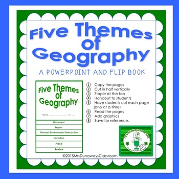 Five Themes of Geography Power Point and Flip Book