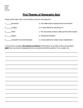 5 Themes Of Geography Quiz Worksheets & Teaching Resources | TpT