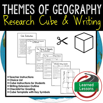 Five Themes of Geography Activity Research Cube with Writing