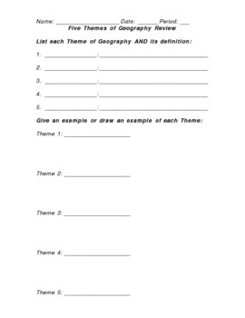 Five Themes of Geography Review Sheet