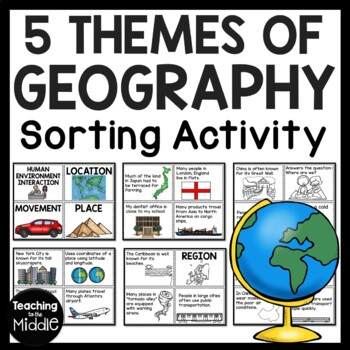 Five Themes of Geography Sort, No-Prep Social Studies