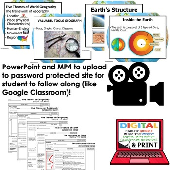 Five Themes of Geography, Structure of Earth Guided Notes and PowerPoints