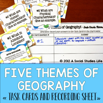 Five Themes of Geography Task Cards and Recording Sheet