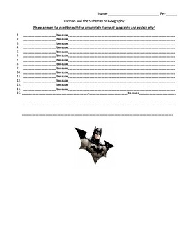 Five Themes of Geography and Batman Review - Handout