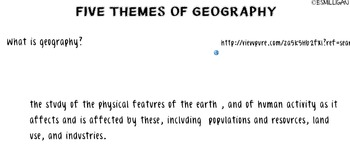 Five Themes of Geography w/ Formative Assessment- Social Studies Core Concept