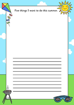 Five Things I Want to do this Summer Writing Frame