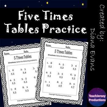 Five Times Tables Practice