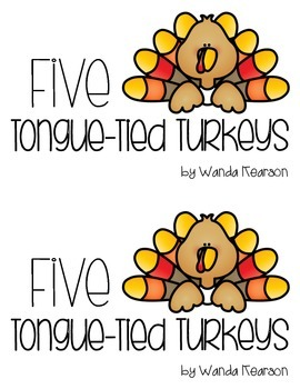 Five Tongue-Tied Turkeys Thanksgiving Themed Literacy Center Book