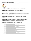 Five Types of Context Clues Worksheet