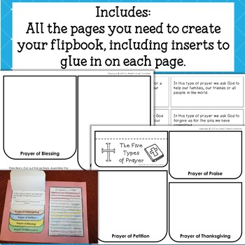 Five Types of Prayer Flapbook and Writing Activity