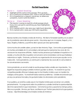 Spanish Five Verb Tense Review Choral Reading