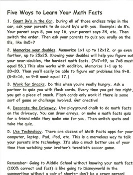 Five Ways To Study Your Math Facts