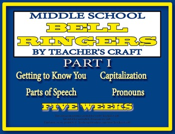 Five Week Middle School ELA Bell Ringers Packet - Part 1