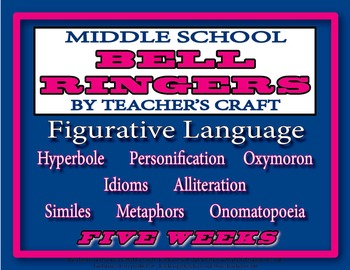 Five Week Middle School ELA Bell Ringers Packet - Figurative Language