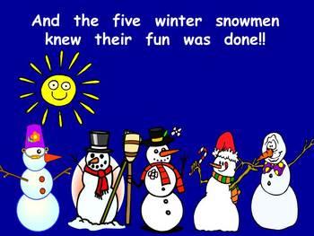 Five Winter Snowmen-  Kindergarten Shared Reading PowerPoint