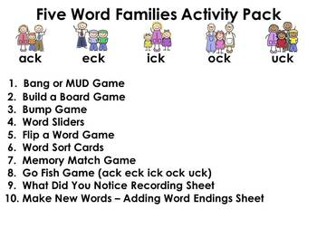 Word Families Activity Pack