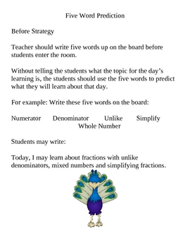 Five Word Prediction Instructions