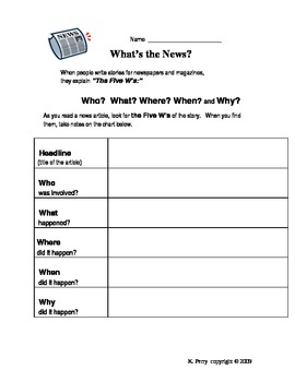 Five W's Chart for Newpaper or Magazine Articles