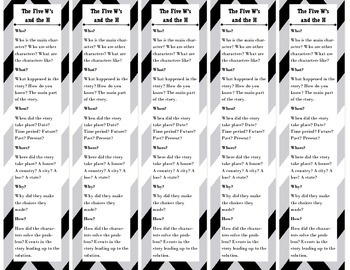 Five Ws and H Bookmarks (Who, What, When, Where, Why, and How)
