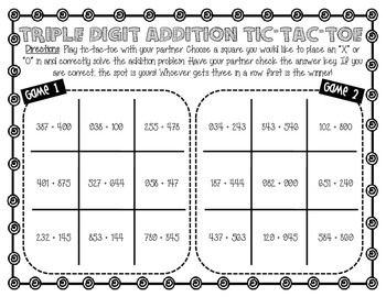 Five Zero Prep Triple Digit Addition Games