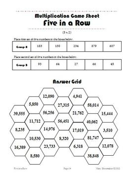 Five in a Row: Game Sheets-Whole Numbers