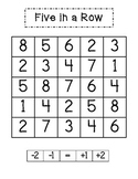 Five in a Row Math Game - Counting On and Counting Back