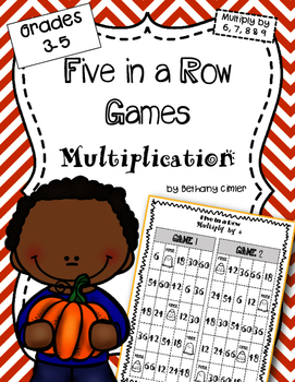 Five in a Row Multiplication Games  {{Grades 3-5}}