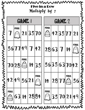 Five in a Row Multiplication Games
