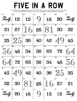 Five in a Row Multiplication Tables Game