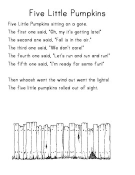 image about Five Little Pumpkins Printable named 5 Very little Pumpkins Sitting down Upon A Gate Worksheets TpT