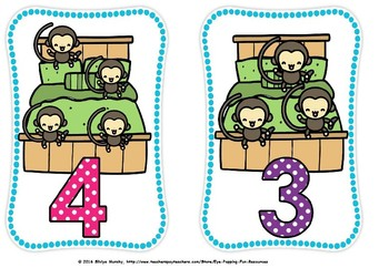 Five little monkeys flash cards