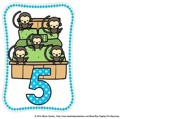 Five little monkies flash cards