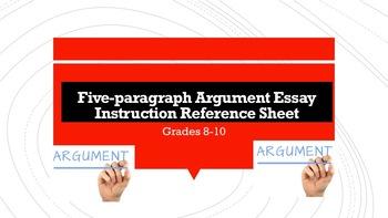 Five-paragraph Argument Essay Instruction Reference Sheet—Grades 8-10