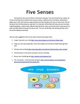 five senses parent newsletter by josie g teachers pay teachers