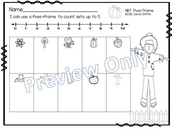 Fives Frame - Fall Task Cards Numbers to 5