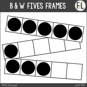 B & W Five Frames Clipart