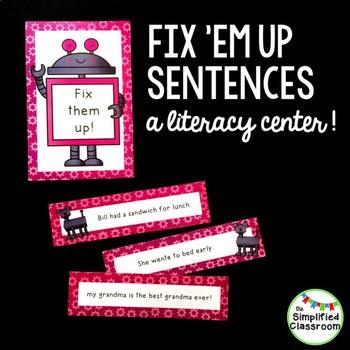 Fix Em Up Sentences - Robot Theme Literacy Center