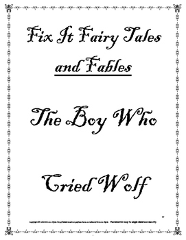Fix It Fables and Fairy Tales Grammar Practice Center Game Assessment Grades 4-6